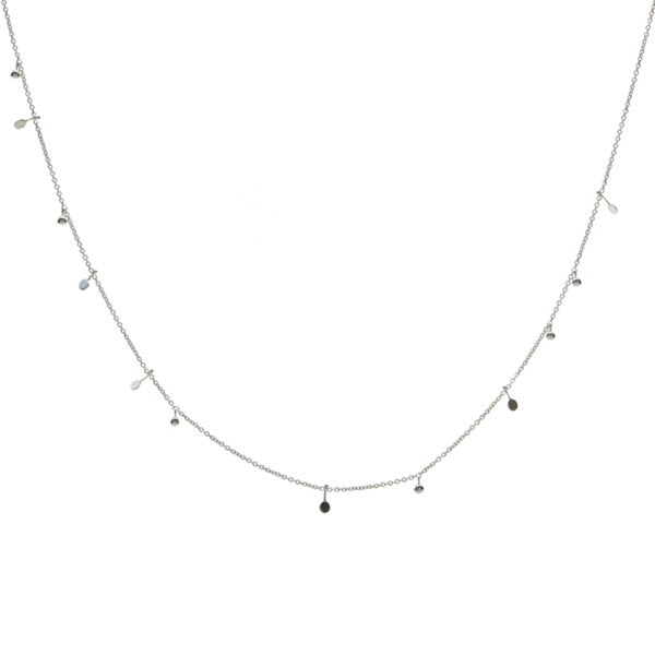silve malai necklace with discs and granules
