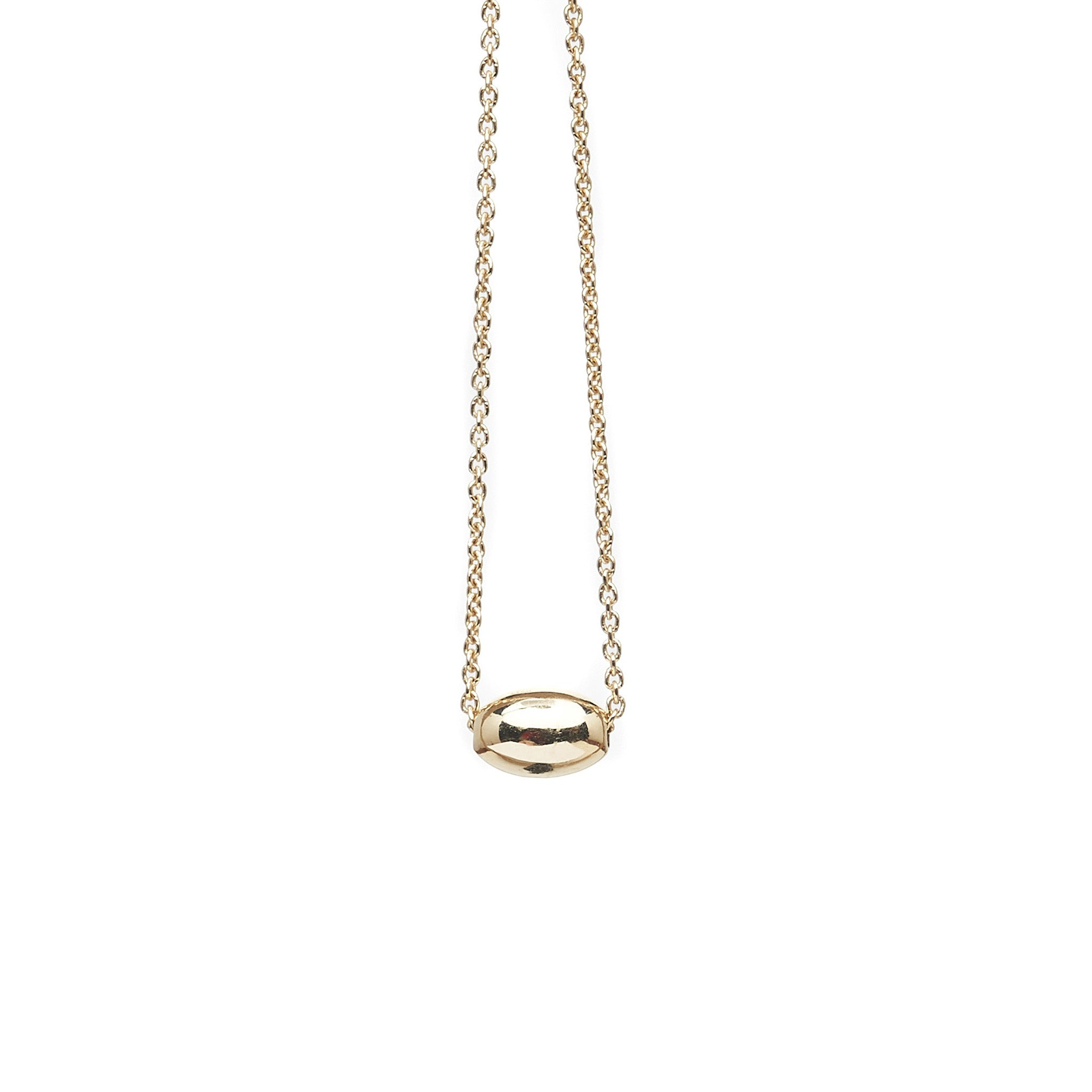 The Straits Finery minimalist necklace in 14k solid gold with fine chain and gold bead