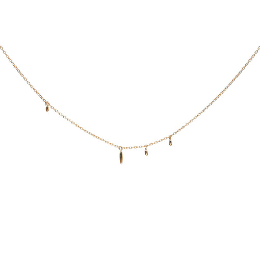 Minimalist solid 14k gold necklace. Delicate fine jewelry.