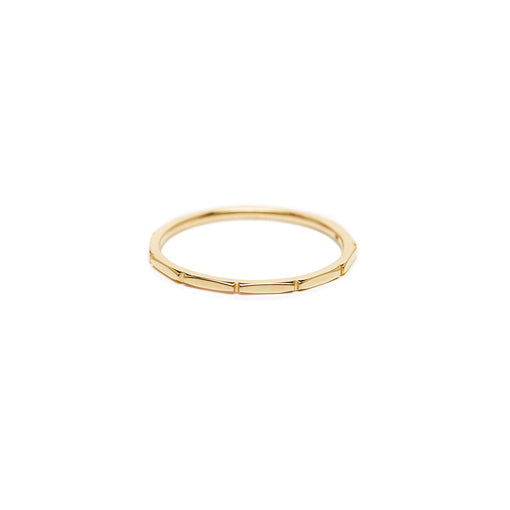 minimalist sold 14k gold jewelry. thin bamboo fine ring