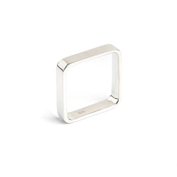 sterling silver box square stacking ring