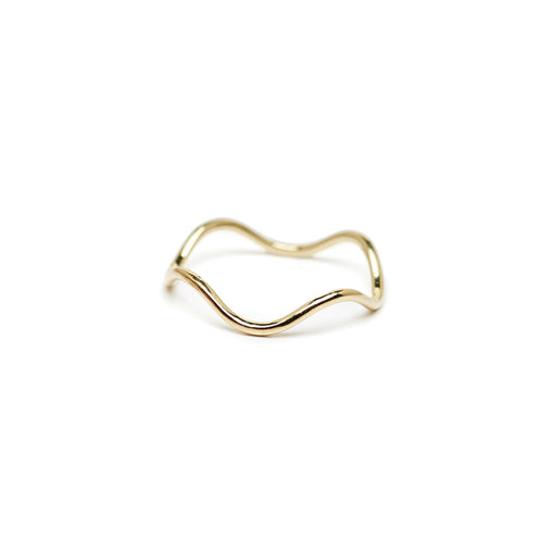 The Straits Finery wave stacking ring in 14k solid gold
