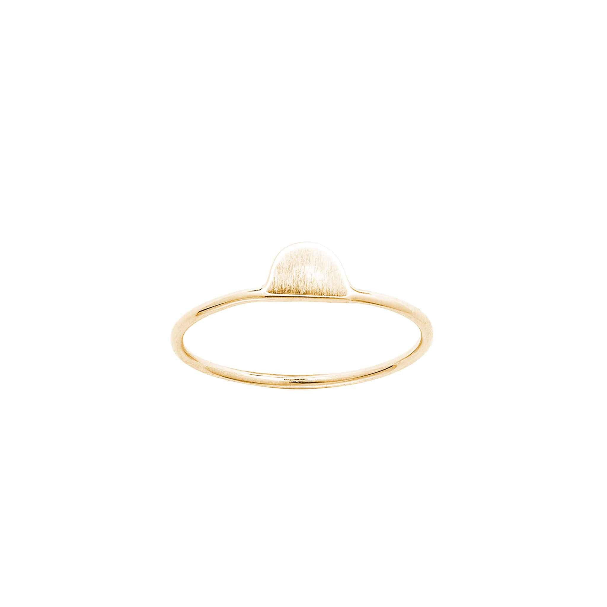 14k solid gold tiny half moon ring