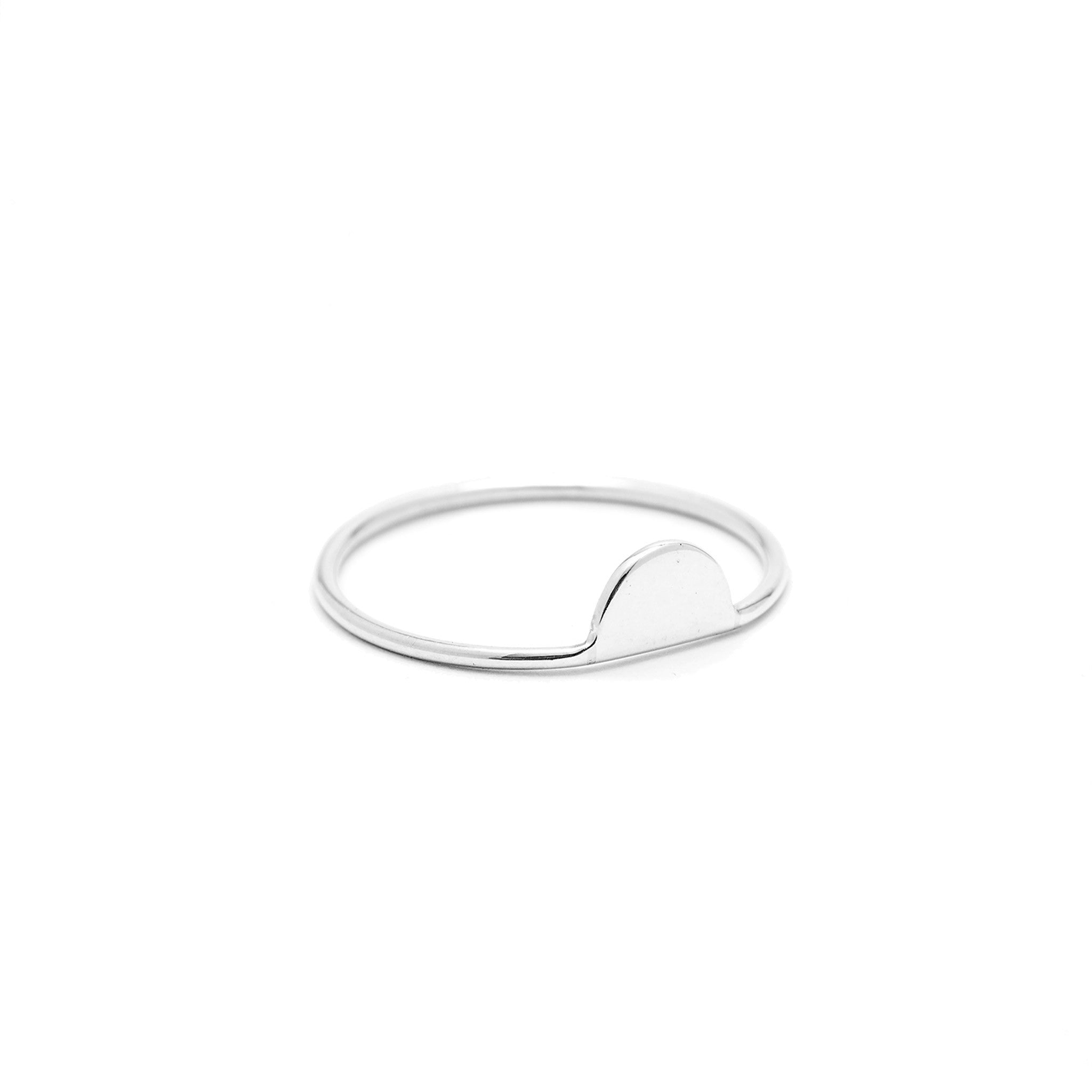 Sterling silver tiny half moon ring