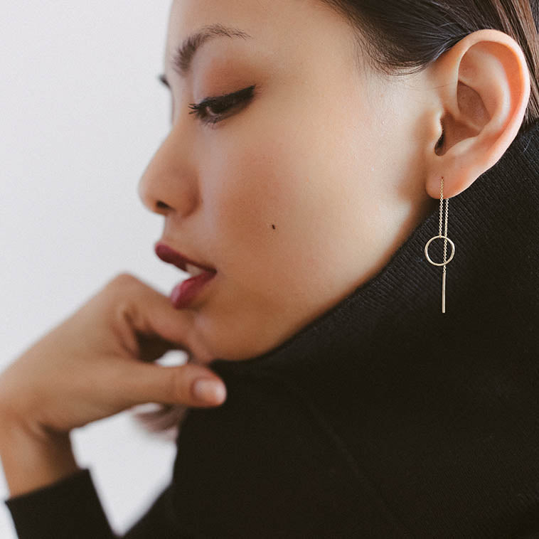 14k gold waterfall sleeper earrings. The Straits Finery x Snackfood
