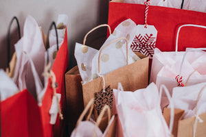 Christmas gift bags with decorative tissue