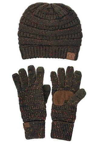 Brown speckled gloves and beanie
