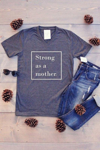 Strong as a Mother Graphic Tee - Charcoal