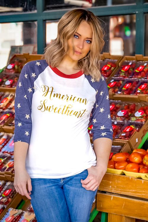American Sweetheart Star Sleeve Baseball T-Shirt