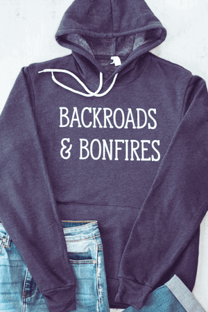 Backroads and Bonfires Navy Blue Graphic Hoodie