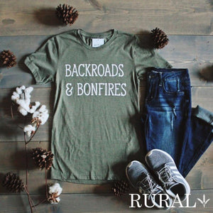 backroads and bonfires graphic tee, backroads and bonfires rural tee, backroads and bonfires, backroads and bonfires tee, country shirt, country girl tee, country girl cute shirt, off roading womens tee, off roading shirt, bonfire tee, bonfire top, bonfire shirt, rural graphic tee, rural mercantile, jamesport missouri