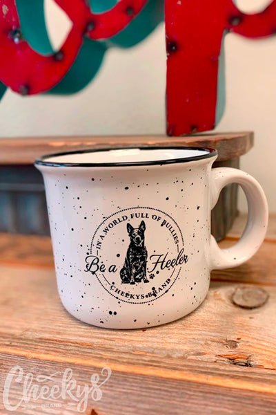 black and white ceramic speckle mug with Be a Heeler graphic from Cheekys Brand