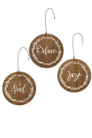 Believe, Joy, Noel | Barnwood Ornament