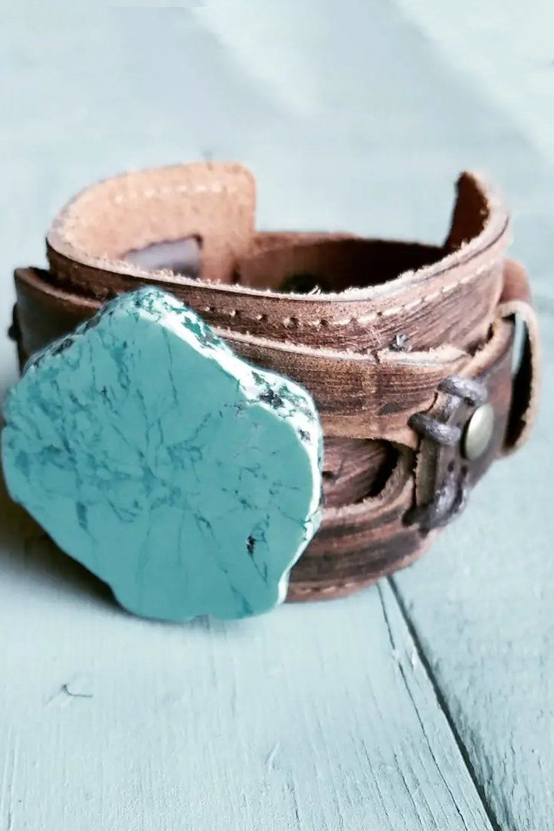 Authentic Turquoise Slab Leather Cuff Bracelet