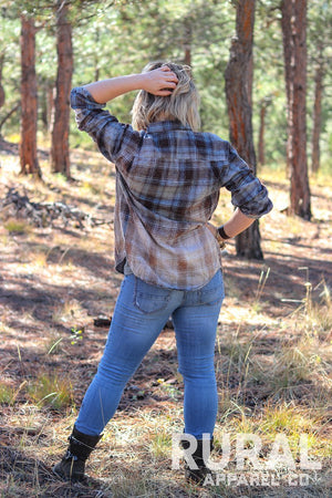 Blue Haze Distressed Flannel Shirt, blue Flannel, distressed Flannel, distressed Plaid, Flannel Blouse, blue flannel top, blue plaid, blue flannel, light blue plaid, shades of blue plaid,  women's plaid, women's flannel, rural apparel, kansas city boutique, rural clothing, rural shirt, country girl, rural women's tee
