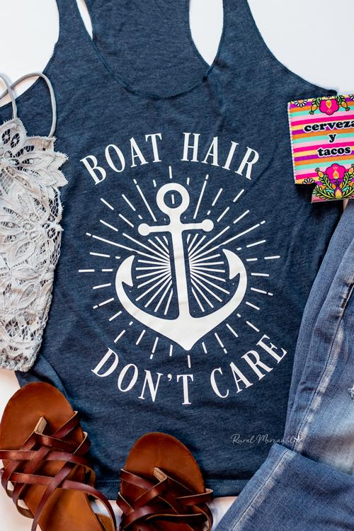 Boat Hair Don't Care Navy Graphic Tank