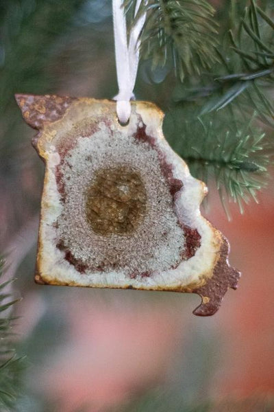 Brown Cafe Crackle Missouri State Ornament on a tree, farmhouse christmas decor, state ornaments