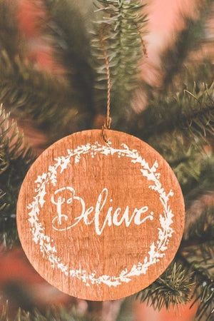 Barnwood Christmas Ornaments, believe ornament