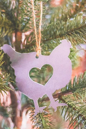 Rustic Chicken Metal Christmas Ornament with heart cutout on Christmas Tree