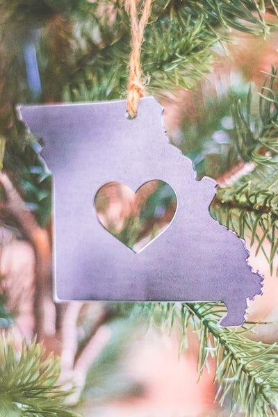 Rustic Missouri Metal Christmas Ornament on Christmas Tree