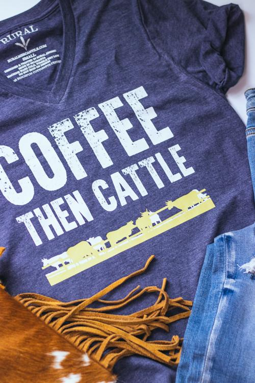 Coffee Then Cattle Navy Graphic T-Shirt, cow t-shirt, farm life tee