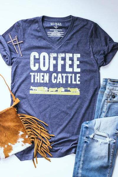 cow and coffee graphic tee that says coffee then cattle with a yellow illustration of cows