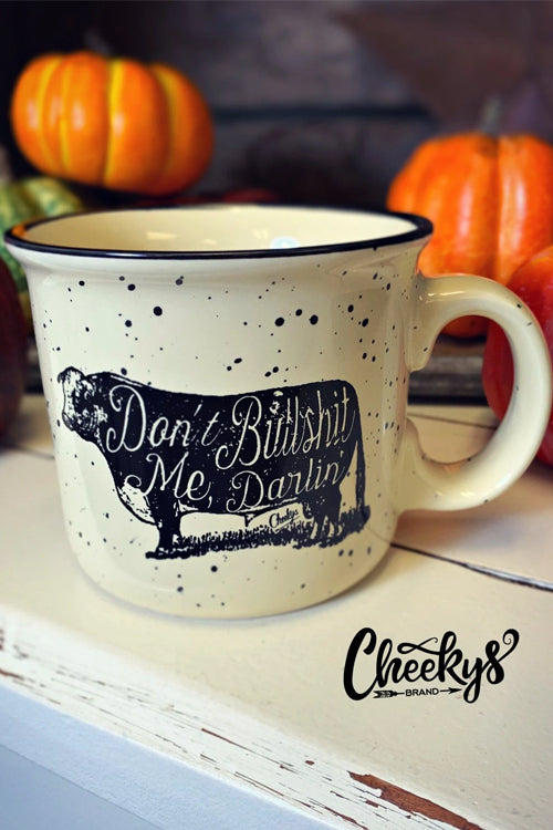Cheekys Don't Bullshit Me Darlin' Ceramic Speckle Mug in Sandstone with pumpkins