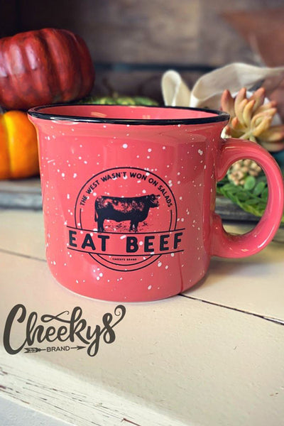 Eat Beef Cheekys Coral Ceramic Speckle Mug