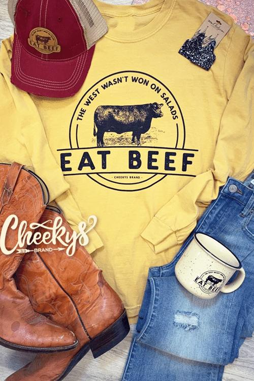 Eat Beef Cheekys Long Sleeve Yellow T-Shirt