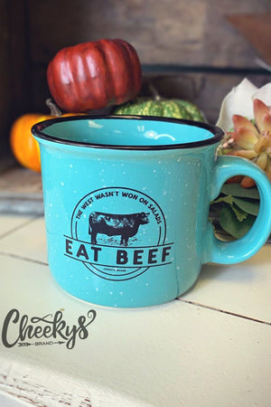 Eat Beef Cheekys Turquoise Ceramic Speckle Mug