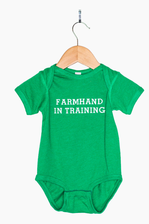 Farmhand In Training Baby Bodysuit onesie, farm baby outfit