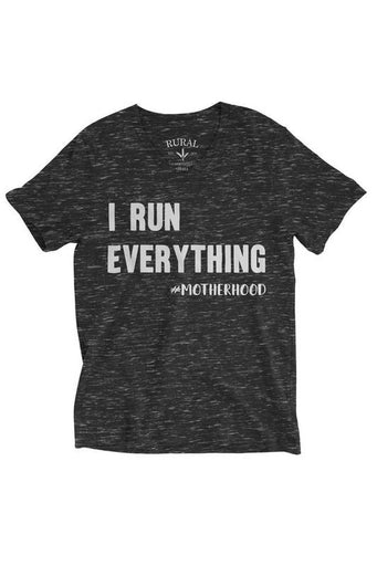 "Mother's V Neck Graphic T-Shirt ""I Run Everything"""