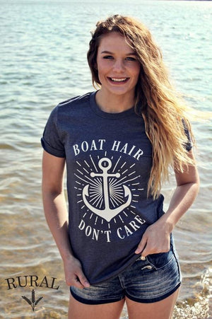 Boat Hair Don't Care Tee, Boat Hair Graphic Tee, Blue Boat Hair Graphic Tee. Boat Hair V-Neck Tee, Blue Boat Hair V-Neck Tee, Boat Hair Shirt, Boat Hair Graphic Shirt, Blue Boat Hair Graphic Shirt. Boat Hair V-Neck Shirt, Blue Boat Hair V-Neck Shirt, rural brand tee, rural apparel, rural apparel co, lake tee, vacay top, vacation shirt, spring break top, kansas city boutique, missouri womens clothes, rural haze, rural bliss, rural