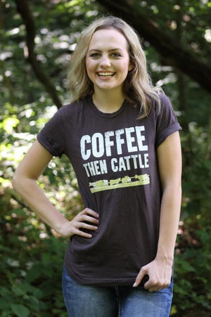 Coffee Then Cattle Brown Graphic T-Shirt