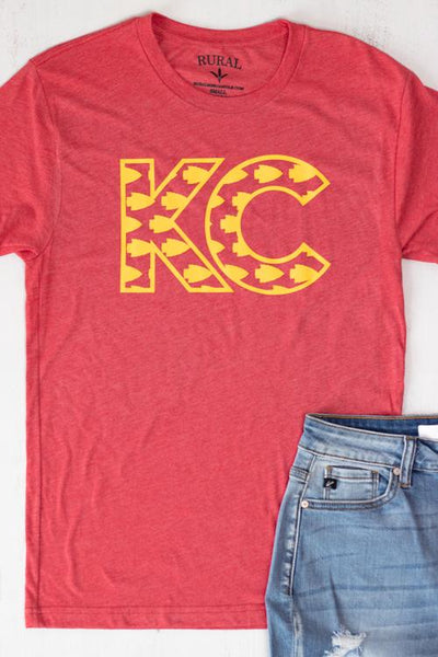 KC Arrowheads Red and Gold Graphic Tee