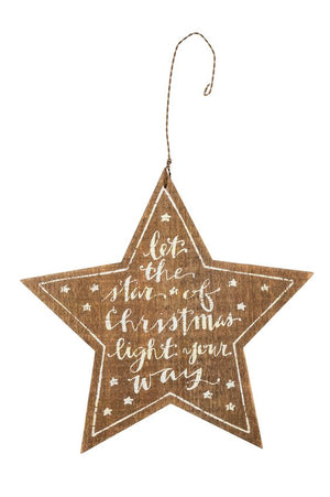 Let the Star of Christmas  Barnwood Ornament