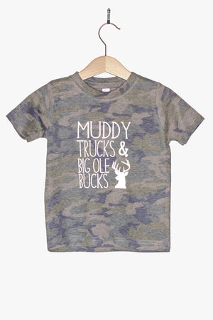 Muddy Trucks & Big Ole Bucks Camo Toddler Shirt