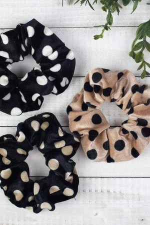 Polka Dot Hair Scrunchie Set, polka dot accessories