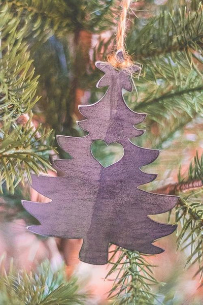 Rustic Steel Christmas Tree Ornament, steel cut ornament, rustic christmas decor, farmhouse christmas decor