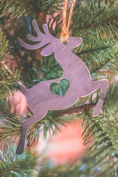 Rustic Steel Reindeer Ornament, farmhouse christmas decor, silver christmas ornament