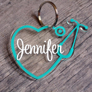 stethoscope heart keychain, stethoscope keychain, personalized nurse gift, nurse ornament