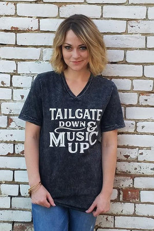 tailgate down and music up graphic tee, country music graphic tee, country music tee, tailgate graphic t shirt, tailgate graphic tee, black music tee, black country music tee, back roading graphic tee, black acid washed v neck t shirt, rural tee, rural apparel tee, rural apparel graphic tee music, rural apparel, rural haze, rural bliss, kc boutique, kansas city boutique, midwest boutique, missouri boutique, trenton, missouri