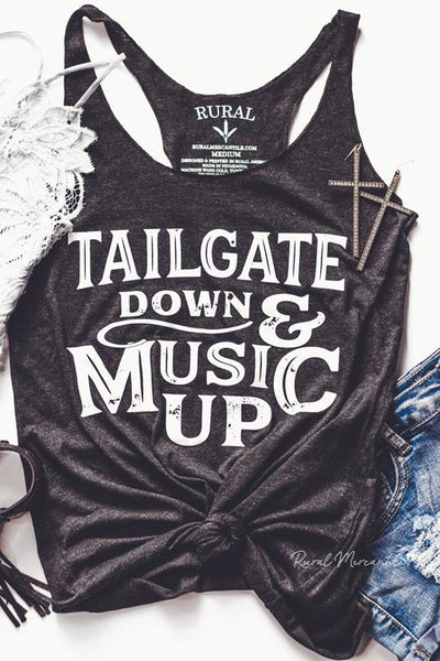 Tailgate Down Music Up Graphic Tank Top