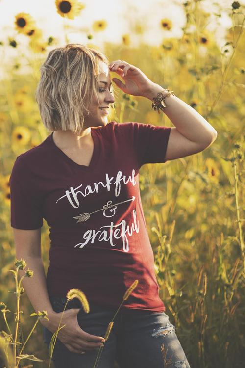 Thankful and Grateful Burgundy Graphic T-Shirt