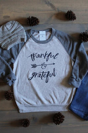 Thankful and Grateful Eco Fleece Crew Neck Sweatshirt, Thankful and Grateful Sweater, Thankful and Grateful Sweatshirt, thankful and grateful top,  Fleece Sweatshirt, Thankful and Grateful, Thankful and Grateful top,Thankful and Grateful sweatshirt, alternative eco-fleece sweatshirt, gray eco-fleece raglan sweatshirt, ethical sweatshirt, WRAP certified sweatshirt, rural apparel, rural clothes, rural missouri, rural bliss, rural haze, rural clothing, midwest boutique, missouri boutique