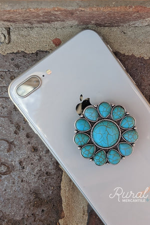 Turquoise Stone Blossom phone grip, turquoise accessories, western