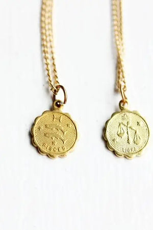 Vintage Zodiac Sign Astrology Necklaces for pisces and libra