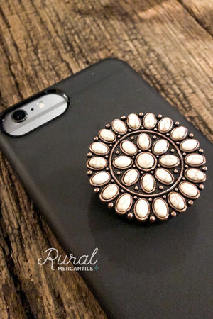 White Stone Medallion Phone Grip