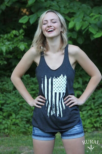 Distressed Flag Charcoal Graphic Tank
