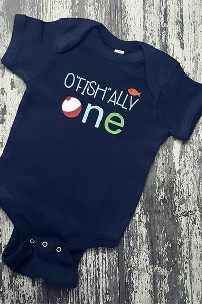 "O""Fish""ally One Baby Bodysuit, fishing baby onesie, baby first birthday fishing"